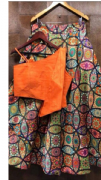 Funky Lehenga With Contrast Orange Blouse